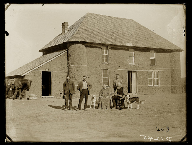 1886 Isadore Haumont two story sod house